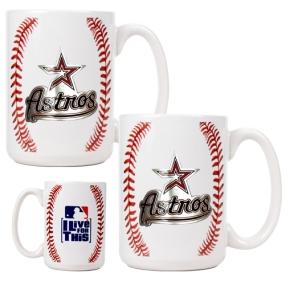 Houston Astros 2pc Ceramic Gameball Mug Set