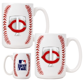 Minnesota Twins 2pc Ceramic Gameball Mug Set