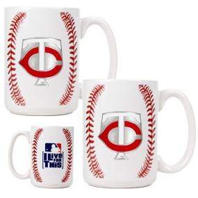 Minnesota Twins 2pc Ceramic Gameball Mug Set