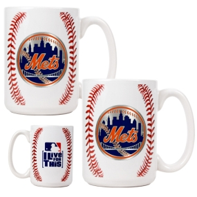 New York Mets 2pc Ceramic Gameball Mug Set