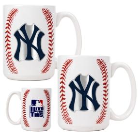 New York Yankees 2pc Ceramic Gameball Mug Set