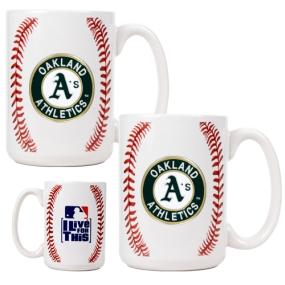 Oakland A's 2pc Ceramic Gameball Mug Set