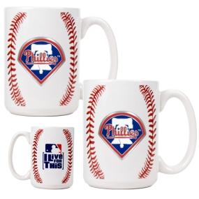 Philadelphia Phillies 2pc Ceramic Gameball Mug Set