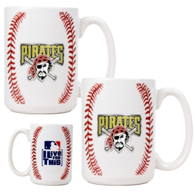 Pittsburgh Pirates 2pc Ceramic Gameball Mug Set