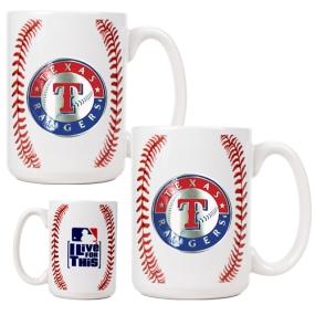 Texas Rangers 2pc Ceramic Gameball Mug Set