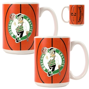 Boston Celtics 2pc Ceramic Gameball Mug Set