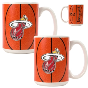 Miami Heat 2pc Ceramic Gameball Mug Set