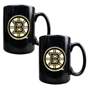 Boston Bruins 2pc Black Ceramic Mug Set