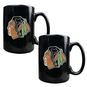 Chicago Blackhawks 2pc Black Ceramic Mug Set
