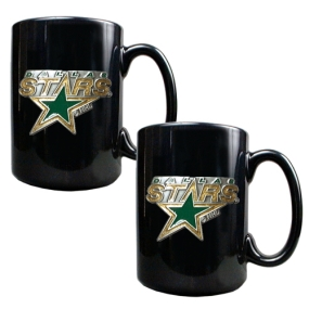 Dallas Stars 2pc Black Ceramic Mug Set