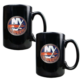 New York Islanders 2pc Black Ceramic Mug Set
