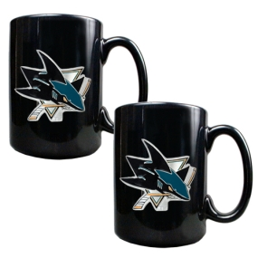 San Jose Sharks 2pc Black Ceramic Mug Set