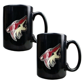 Phoenix Coyotes 2pc Black Ceramic Mug Set