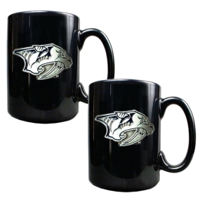 Nashville Predators 2pc Black Ceramic Mug Set