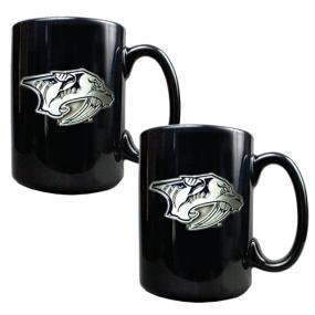 Nashville Predators 2pc Black Ceramic Mug Set