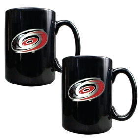 Carolina Hurricanes 2pc Black Ceramic Mug Set
