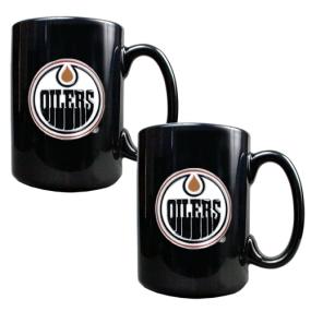Edmonton Oilers 2pc Black Ceramic Mug Set