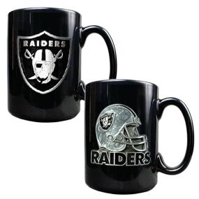 Oakland Raiders 2PC COFFEE MUG SET-HELMET/PRIMARY LOGO