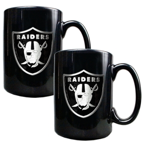Oakland Raiders 2pc Black Ceramic Mug Set