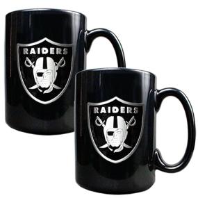 Oakland Raiders 2pc Black Ceramic Mug Set