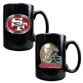 San Francisco 49ers 2PC COFFEE MUG SET-HELMET/PRIMARY LOGO