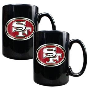 San Francisco 49ers 2pc Black Ceramic Mug Set
