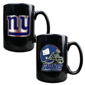 New York Giants 2PC COFFEE MUG SET-HELMET/PRIMARY LOGO