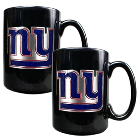 New York Giants 2pc Black Ceramic Mug Set