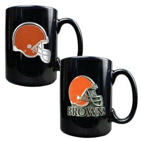 Cleveland Browns 2PC COFFEE MUG SET-HELMET/PRIMARY LOGO