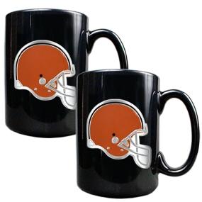 Cleveland Browns 2pc Black Ceramic Mug Set