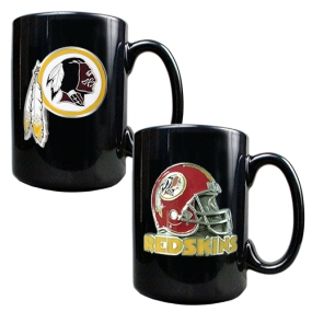 Washington Redskins 2PC COFFEE MUG SET-HELMET/PRIMARY LOGO