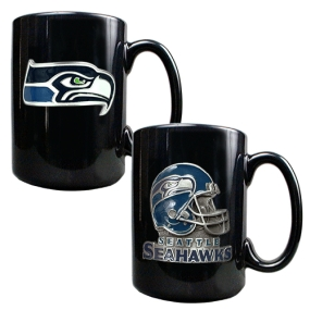 Seattle Seahawks 2PC COFFEE MUG SET-HELMET/PRIMARY LOGO