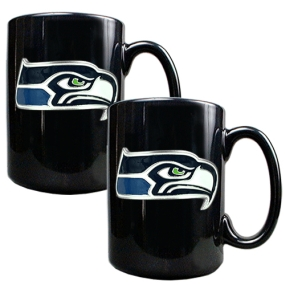 Seattle Seahawks 2pc Black Ceramic Mug Set