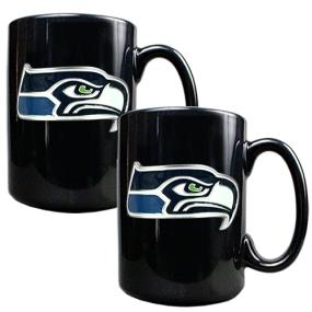 Seattle Seahawks 2pc Black Ceramic Mug Set