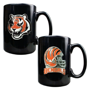 Cincinnati Bengals 2PC COFFEE MUG SET-HELMET/PRIMARY LOGO