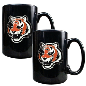 Cincinnati Bengals 2pc Black Ceramic Mug Set