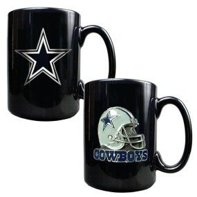 Dallas Cowboys 2PC COFFEE MUG SET-HELMET/PRIMARY LOGO