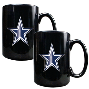 Dallas Cowboys 2pc Black Ceramic Mug Set
