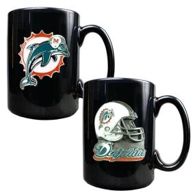 Miami Dolphins 2PC COFFEE MUG SET-HELMET/PRIMARY LOGO