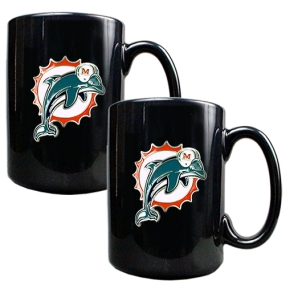 Miami Dolphins 2pc Black Ceramic Mug Set