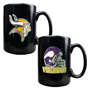 Minnesota Vikings 2PC COFFEE MUG SET-HELMET/PRIMARY LOGO