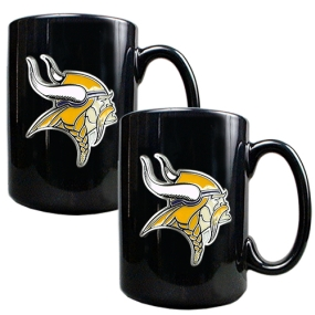 Minnesota Vikings 2pc Black Ceramic Mug Set