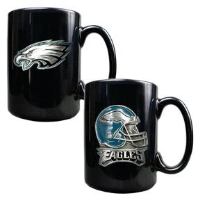 Philadelphia Eagles 2PC COFFEE MUG SET-HELMET/PRIMARY LOGO