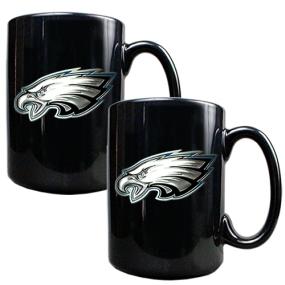 Philadelphia Eagles 2pc Black Ceramic Mug Set