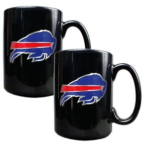 Buffalo Bills 2pc Black Ceramic Mug Set