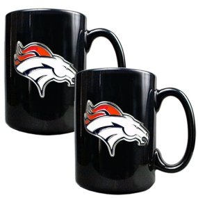 Denver Broncos 2pc Black Ceramic Mug Set