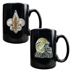 New Orleans Saints 2PC COFFEE MUG SET-HELMET/PRIMARY LOGO