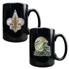 New Orleans Saints 2PC COFFEE MUG SET-HELMET/PRIMARY LOGO