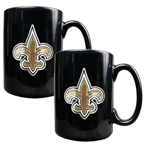 New Orleans Saints 2pc Black Ceramic Mug Set