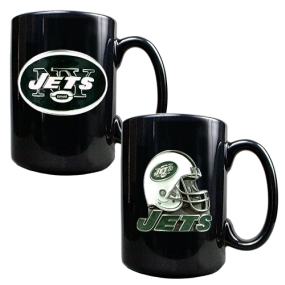 New York Jets 2PC COFFEE MUG SET-HELMET/PRIMARY LOGO